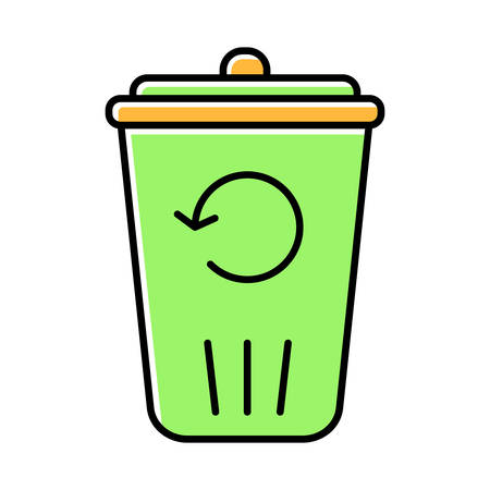 Recycling service green color icon. Converting waste materials. Garbage reuse. Junk reprocessing. Trash bin. Reutilization. Eco friendly apartment amenities. Isolated vector illustration Ilustracja
