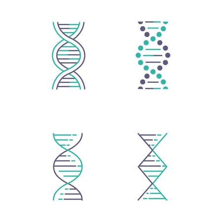 DNA spiral strands violet and turquoise color icons set. Deoxyribonucleic, nucleic acid helix. Chromosome. Molecular biology. Genetic code. Genome. Genetics. Medicine. Isolated vector illustrations