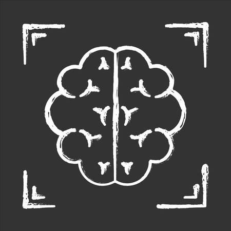 Brain scan chalk icon. Neuroimaging. Nervous system structure analysis. Medical procedure. Hospital examination. Clinical professional test. Neurology. Isolated vector chalkboard illustration Standard-Bild - 134811455