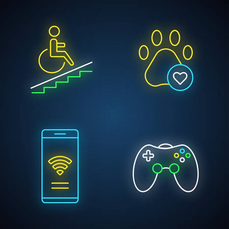 Apartment amenities neon light icons set. Wheelchair access, pets allowed, game room, free wifi. Property conveniences for renters. Residential services. Glowing signs. Vector isolated illustrations