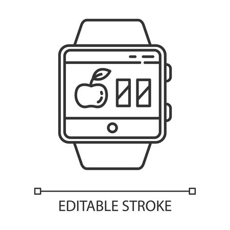 Calorie calculator smartwatch function linear icon. Estimating calories to maintain, lose and gain weight. Thin line illustration. Contour symbol. Vector isolated outline drawing. Editable stroke Ilustração