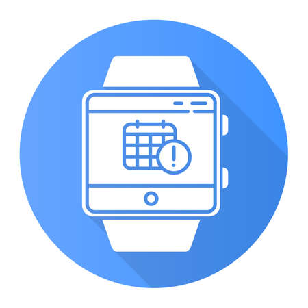 Scheduling events smartwatch function blue flat design long shadow glyph icon. Fitness wristband capability. Calendar and timetable. Planning and time management. Vector silhouette illustration Stock Illustratie