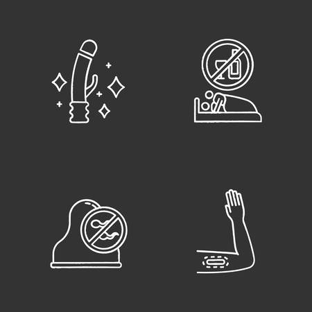 Safe sex chalk icons set. Clean sex toys. Sober intercourse with partner. Cervical cap. Barrier contraceptive. Intimate hygiene. Contraceptive implant. Isolated vector chalkboard illustrations Ilustrace