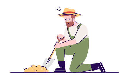 Digging man flat vector illustration. Archeological excavations. Treasure hunter in working process. Caucasian archaeologist with sapper shovel cartoon character with outline on white background