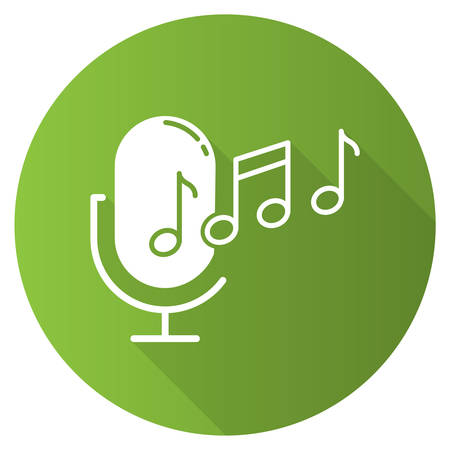 Green ringtone recognition flat design long shadow glyph icon. Melody definition app idea. Sound recorded. Microphone and notes. Voice command. Professional mike. Vector silhouette illustration