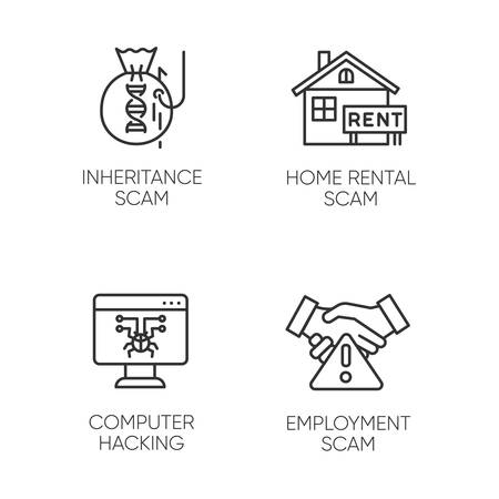 Scam types linear icons set. Inheritance, home rental, employment scheme. Computer hacking. Illegal money gain. Thin line contour symbols. Isolated vector outline illustrations. Editable stroke Ilustrace