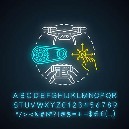 Control of mobile robots neon light concept icon. Motion at distance idea. Software and controllers for drones, devices. Glowing sign with alphabet, numbers and symbols. Vector isolated illustration