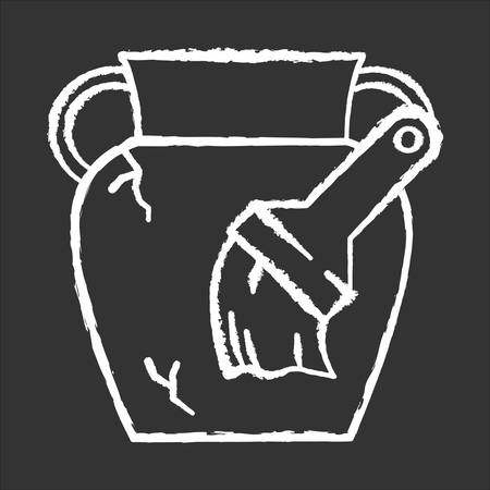 Restoration chalk icon. Damaged greek amphora. Large vase, brush. Ancient artifact. Antique item reconstruction. Cracked pottery renovation. Historic discovery. Isolated vector chalkboard illustration 向量圖像