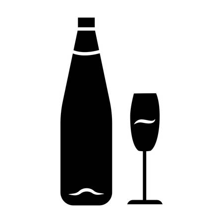 Wine glyph icon. Alcohol bar. Bottle and wineglass. Alcoholic beverage. Restaurant service. Standard glassware for white wine. Silhouette symbol. Negative space. Vector isolated illustration