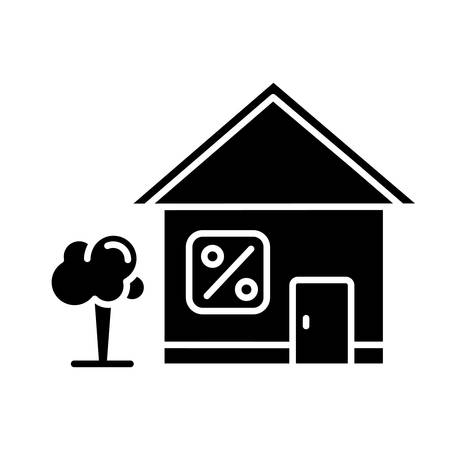 Home loan glyph icon. Credit with interest rate to buy real estate building. Buying, renting house. Borrow money to purchase apartment. Silhouette symbol. Negative space. Vector isolated illustration