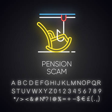 Pension scam neon light icon. Retirement savings theft. Fake annuity investment offer. Crime against elderly. Phishing. Glowing sign with alphabet, numbers and symbols. Vector isolated illustration Imagens - 134837297