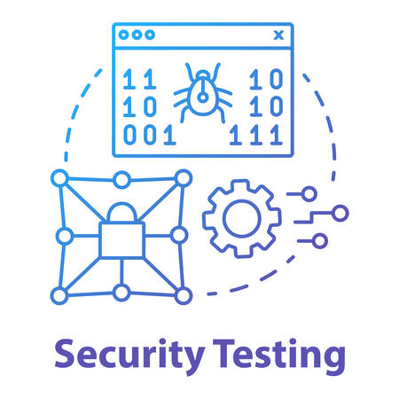 Security testing concept icon. Software development stage idea thin line illustration. Safety ensurance. Application programming. Privacy protection. Vector isolated outline drawing