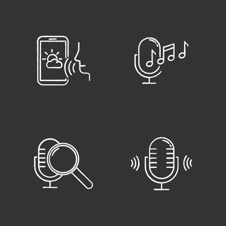 Sound request chalk icons set. Voice control system idea. Speech recognition technology. Voice controlled apps. Microphones, speakers, forecast app. Isolated vector chalkboard illustrations Standard-Bild - 134811584