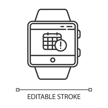 Scheduling events smartwatch function linear icon. Calendar and timetable. Planning and time management. Thin line illustration. Contour symbol. Vector isolated outline drawing. Editable stroke Stockfoto - 134837300