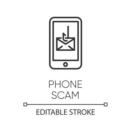 Phone scam linear icon. Communications fraud. One-ring trick. Smishing, SMS phishing. Telephone scamming. Thin line illustration. Contour symbol. Vector isolated outline drawing. Editable stroke