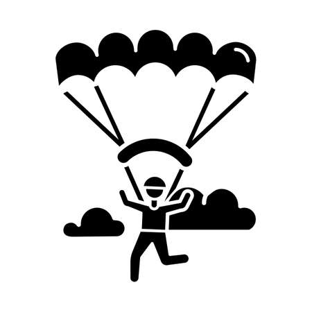 Paragliding glyph icon. Parachuting , paratrooping activity. Air extreme sport. Skydiving, hang gliding recreation. Flights in sky and jumps with parachute. Vector isolated illustration