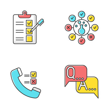 Survey methods color icons set. Telephone poll. Chemical analysis. Questionnaire. Interview. Public opinion. Customer review. Feedback. Data collection. Sociology. Isolated vector illustrations