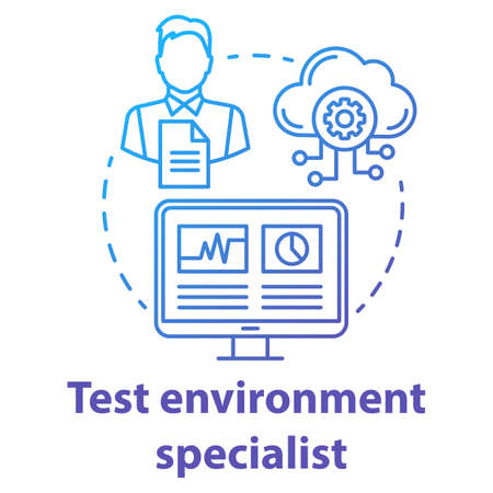 Test environment specialist concept icon. Software development specialist idea thin line illustration. App programming professional. IT project management. Vector isolated outline drawing
