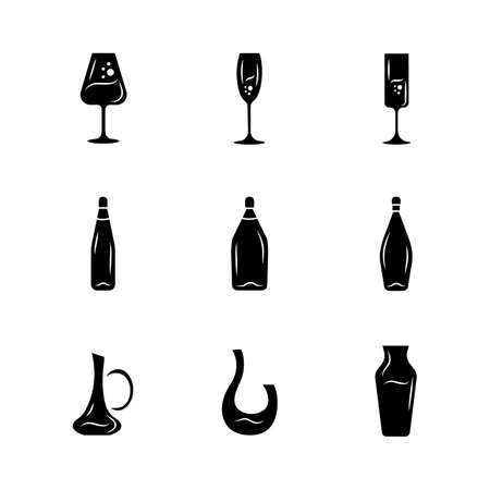 Winery glassware glyph icons set. Different types of wine. Decanters, bottles, glasses. Aperitif drinks, cocktails, alcohol beverages. Silhouette symbols. Vector isolated illustration Ilustração