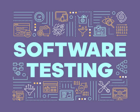 Software testing violet word concepts banner. Examine computer system. Detect problems. Presentation, website. Isolated lettering typography idea with linear icons. Vector outline illustration Ilustração