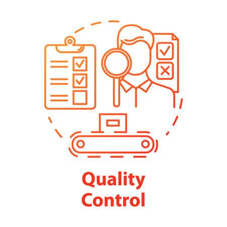 Icona del concetto di controllo di qualità. Monitoraggio delle caratteristiche. Controlla il prodotto. Ispezione di conformità dei processi di produzione idea illustrazione al tratto sottile. Disegno di contorno isolato vettoriale