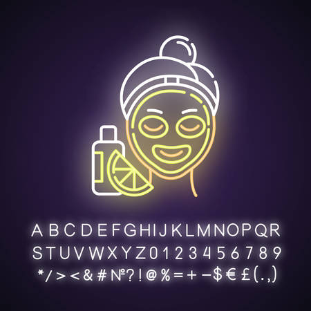 Vitamin C mask neon light icon. Skin care procedure. Facial treatment. Face product. Dermatology, cosmetics, makeup. Glowing sign with alphabet, numbers and symbols. Vector isolated illustration Archivio Fotografico - 134811905