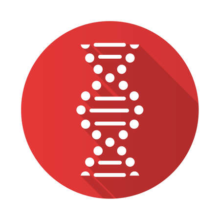DNA spiral red flat design long shadow glyph icon. Connected dots, lines. Deoxyribonucleic, nucleic acid helix. Chromosome. Molecular biology. Genetic code. Genetics. Vector silhouette illustration