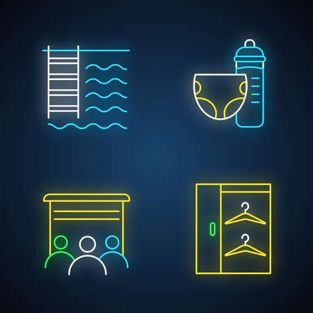 Apartment amenities neon light icons set. Swimming pool, nursery, movie theater, walk in closet. Residential services. Luxuries for dwelling inhabitants. Glowing signs. Vector isolated illustrations Ilustrace