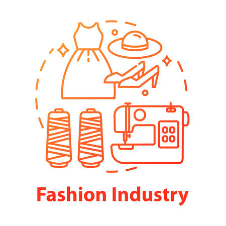 Fashion industry concept icon. Clothing business. Workshop for tailoring clothes and shoes. Sewing idea thin line illustration. Vector isolated outline drawing Illusztráció