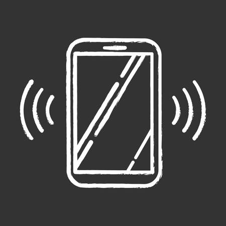Ringing smartphone chalk icon. Mobile voice control idea. Sound command. Loud volume, audio frequency. Phone call, vibro signal. Modern digital device. Isolated vector chalkboard illustration