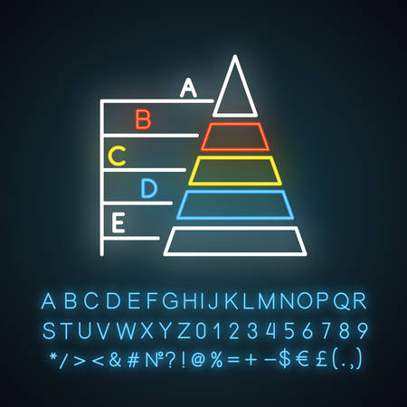 Pyramid graph neon light icon. Information hierarchy chart. Data connection presentation. Business model visualisation. Glowing sign with alphabet, numbers and symbols. Vector isolated illustration