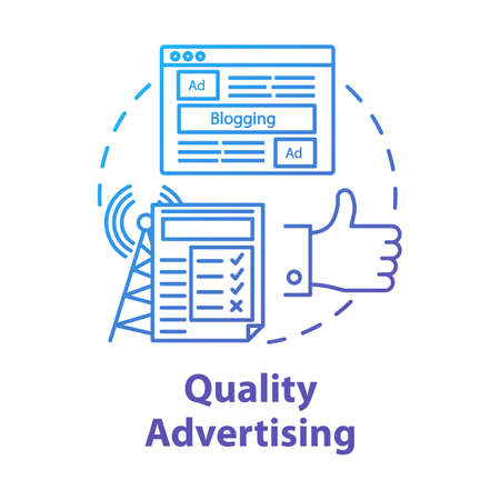 Quality advertising concept icon. Commercial promotion. Successful propaganda. Advertisement marketing. Giving publicity idea thin line illustration. Vector isolated outline drawing Illusztráció