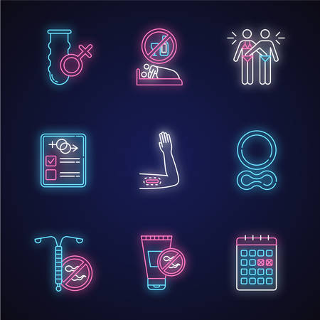 Safe sex neon light icons set. Condom. Sober intercourse. Mutual masturbation. Sex test. Contraceptive implant, ring, device. Spermicide. Calendar method. Glowing signs. Vector isolated illustrations Reklamní fotografie - 134837350