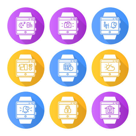 Fitness tracker functions flat design long shadow glyph icons set. Smartwatch wellness services. Scheduling events, sleep timer, weather forecast, notifications. Vector silhouette illustration