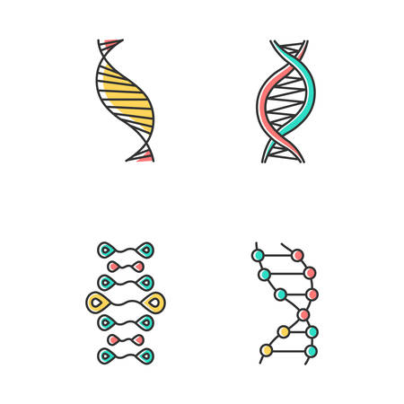 DNA strands color icons set. Deoxyribonucleic, nucleic acid helix. Spiraling strands. Chromosome. Molecular biology. Genetic code. Genome. Genetics. Medicine. Isolated vector illustrations