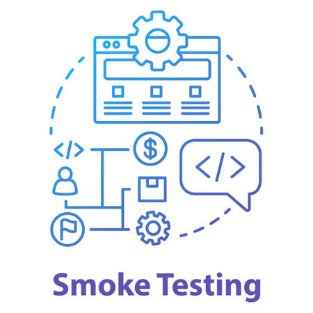 Smoke testing concept icon. Software development stage idea thin line illustration. Build verification testing. Application programming. IT project management. Vector isolated outline drawing