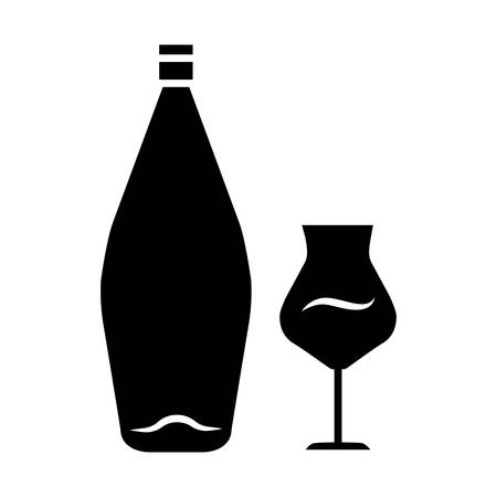 Wine glyph icon. Alcohol bar. Bottle and wineglass. Alcoholic beverage. Restaurant service. Glassware for dessert madeira wine. Silhouette symbol. Negative space. Vector isolated illustration