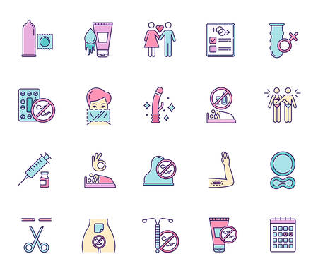 Safe sex color icons set. Condoms. Lubricant, spermicide. Female, male sterilisation. Couple, partner. Sober sex with consent. Contraceptive patch, device, ring. Isolated vector illustrations Reklamní fotografie - 134837376