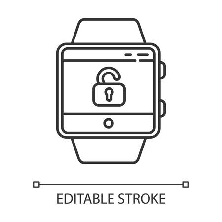 Screen unlocking smartwatch function linear icon. Security and convenience device feature. Thin line illustration. Contour symbol. Opened lock symbol. Vector isolated outline drawing. Editable stroke Illusztráció