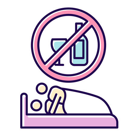 Sober sex color icon. Intimate relationship with male, female partner. Couple sexual activity. Healthy intercourse. No drinking, no alcohol for safe sex. Isolated vector illustration