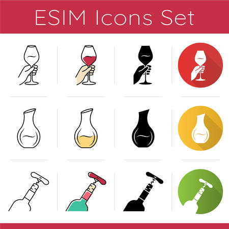Wine service and glassware icons set. Pub tableware, restaurant. Wineglass, decanter, corkscrew. Aperitif, alcohol beverage. Flat design, linear, black and color styles. Isolated vector illustrations