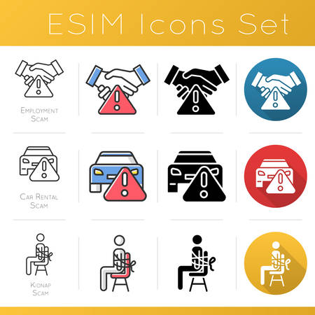 Scam types color icons set. Employment scamming. Car rental scheme. Kidnap fraud. Financial scamming. Illegal money gain. Flat design, linear, black and color styles. Isolated vector illustrations