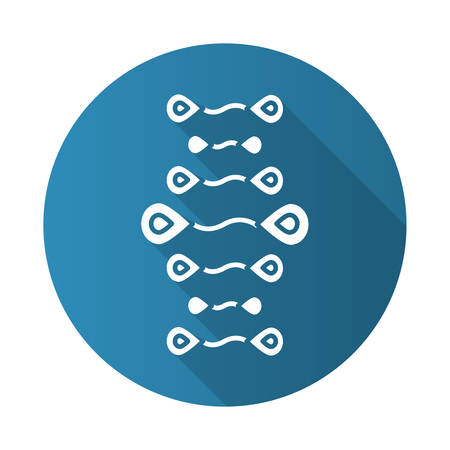 DNA strands blue flat design long shadow glyph icon. Deoxyribonucleic, nucleic acid helix. Chromosome. Molecular biology. Genetic code. Genome. Genetics. Medicine. Vector silhouette illustration Illustration