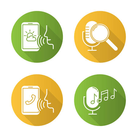 Sound request flat design long shadow glyph icons set. Voice control system idea. Speech recognition technology. Voice controlled apps. Microphones, speakers. Vector silhouette illustration