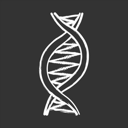 Left-handed DNA helix chalk icon. Z-DNA. Deoxyribonucleic, nucleic acid structure. Spiral strand. Chromosome. Molecular biology. Genetic code. Genome. Genetics. Isolated vector chalkboard illustration Иллюстрация