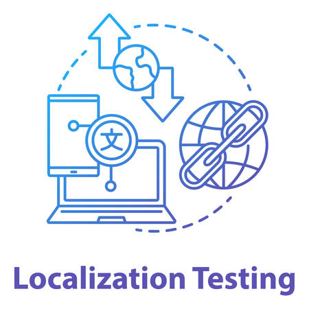 Localization testing concept icon. Software development stage idea thin line illustration. Application programming, IT project management. Customizing app. Vector isolated outline drawing Illusztráció