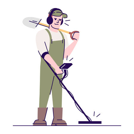 Archaeologist with metal detector and shovel flat vector illustration. Field survey. Search for treasure. Caucasian man with archaeological tools cartoon character with outline on white background