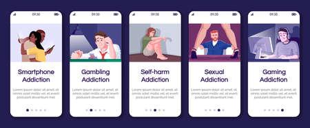 Plantilla de vector de pantalla de página de aplicación móvil de incorporación de adicciones. Obsesión por el juego, autolesión. Pasos del sitio web de tutorial con caracteres planos. UX, UI, GUI concepto de interfaz de dibujos animados para teléfonos inteligentes
