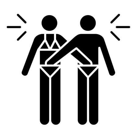 Mutual glyph icon. Couple acitvity. Man and woman, girlfriend and boyfriend. Erotic play with partner. Safe sex. Silhouette symbol. Negative space. Vector isolated illustration