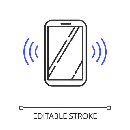 Sound signal linear icon. Audible soundwave. Listening ear. Loud noise perception. Voice call. Thin line illustration. Contour symbol. Vector isolated outline drawing. Editable stroke Illusztráció